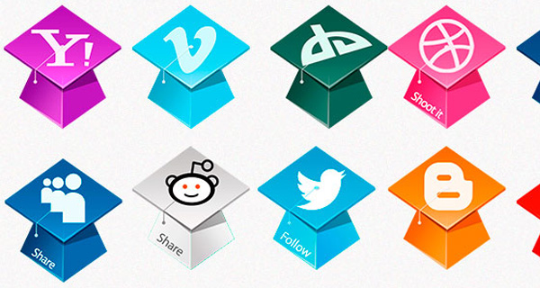 Graduation Hats Social Icons