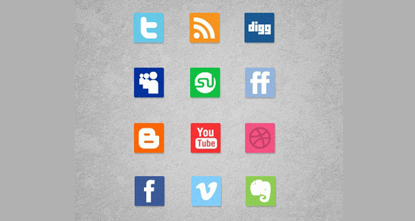 Mini Simple Social Media Icon Set