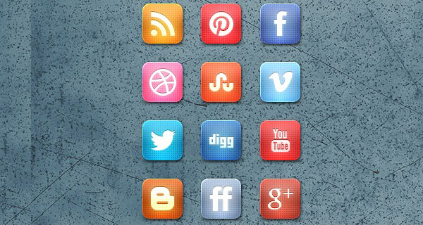 Slick Grid Style Free Social Media Icon Set