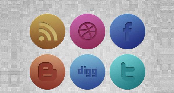 Subtle Textured Grunge Noise Social Media Icons