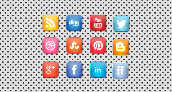 Vibrant Starburst Social Media Icon Set