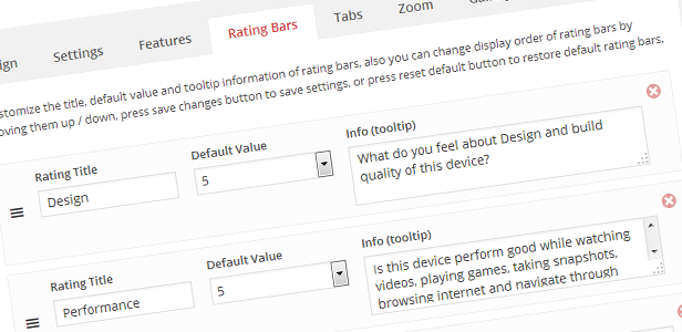 Product Rating Bars Management System